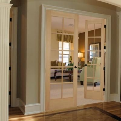 Builders Choice 48 In X 80 In 10 Lite Clear Wood Pine Prehung Interior French Door Hdcp151040 The Home Depot French Doors Interior Prehung Interior French Doors French Doors