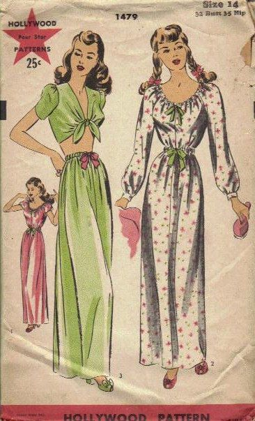 1940s+baby+sewing+patterns | Rare 1940s Hollywood Patterns Sewing Pattern Misses Nightgown Pajamas ...