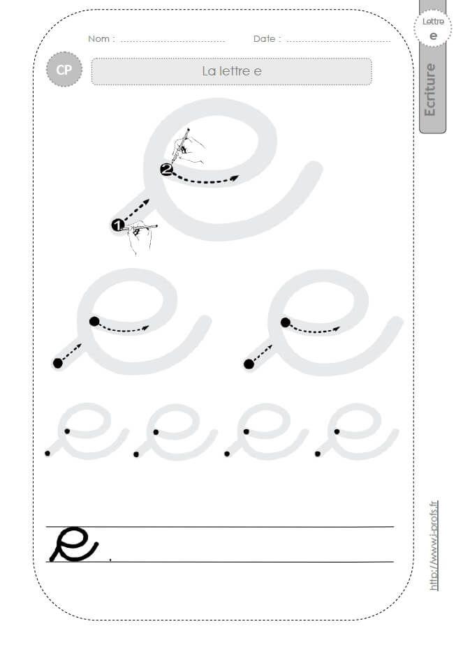 la lettre e minuscule au CP:FICHES d'ECRITURE. Modèles d ...