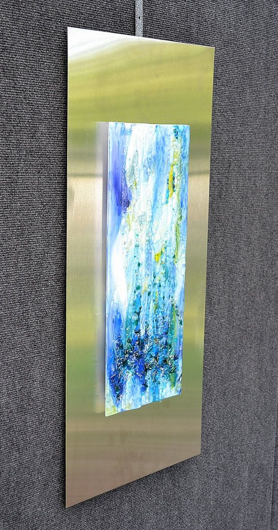 Waterfall Ii Fused Glass Wall Hanging Art Mounted On Stainless