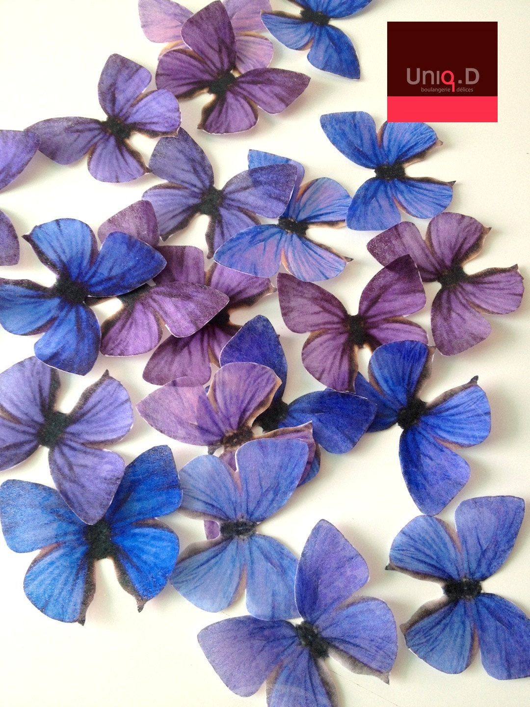 Purple and blue wedding decor   lapis purple edible butterflies  royal blue wedding cake