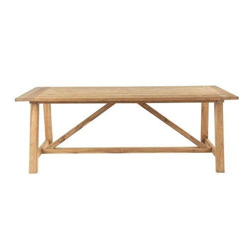 Table de jardin en teck recyclé L 220 cm | extérieur | Pinterest