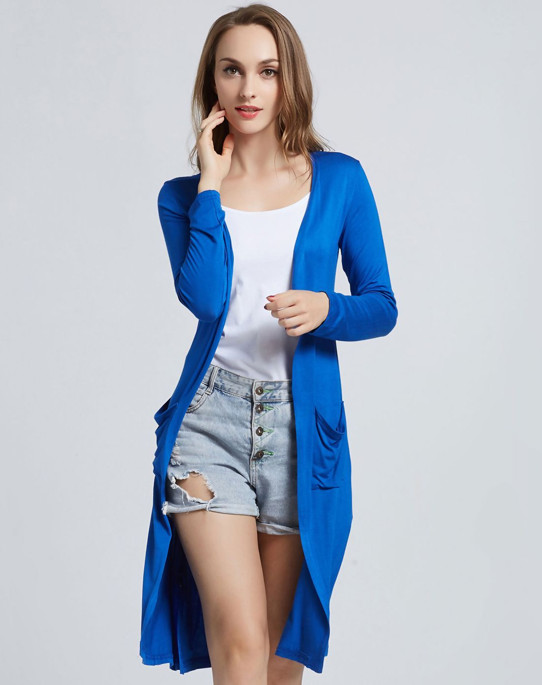 #AdoreWe #VIPme Sweaters & Cardigans❤️Designer yolady Blue Modal Soft Long Sleeve Cardigan - AdoreWe.com