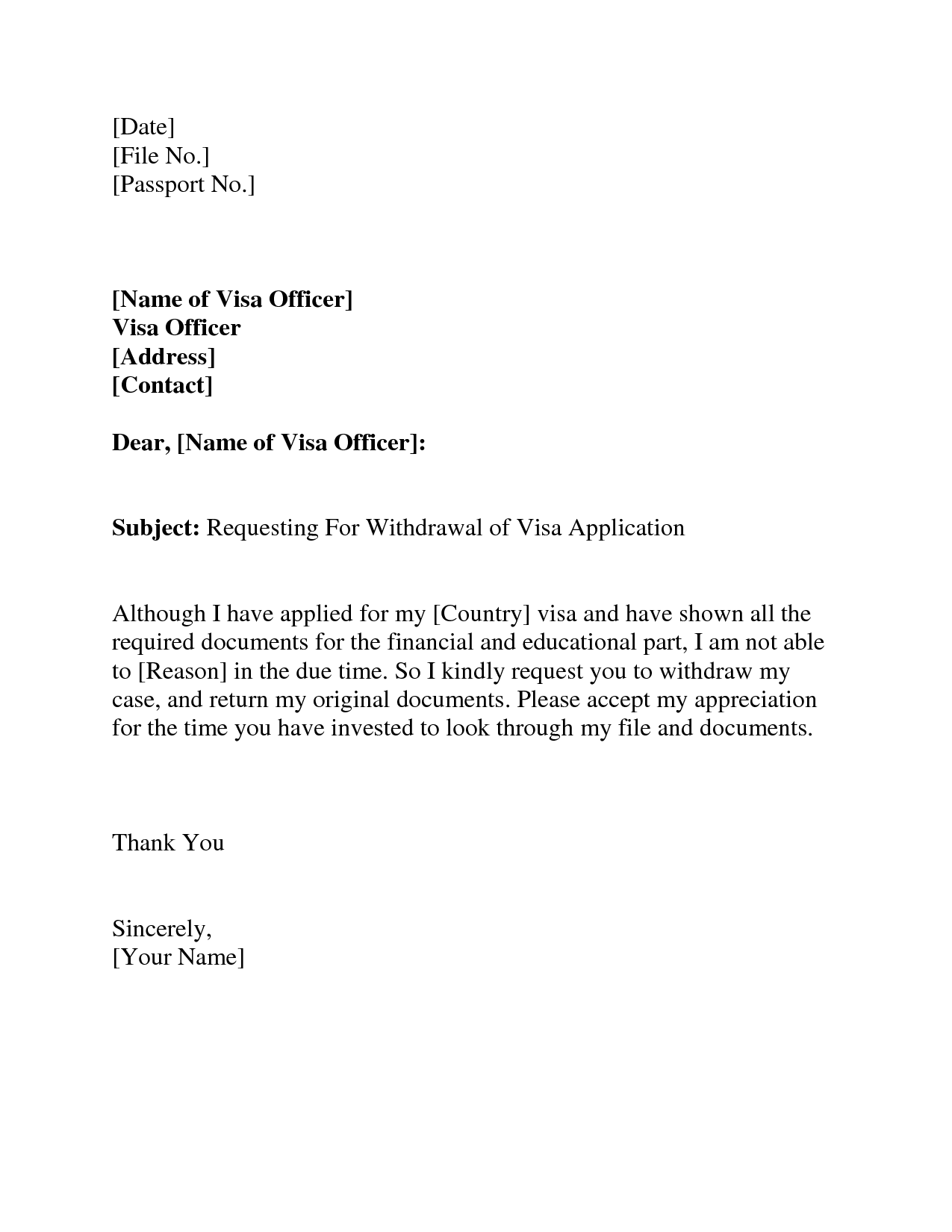Visa Withdrawal Letter Request Letter Format Letter And EmailVisa ...
