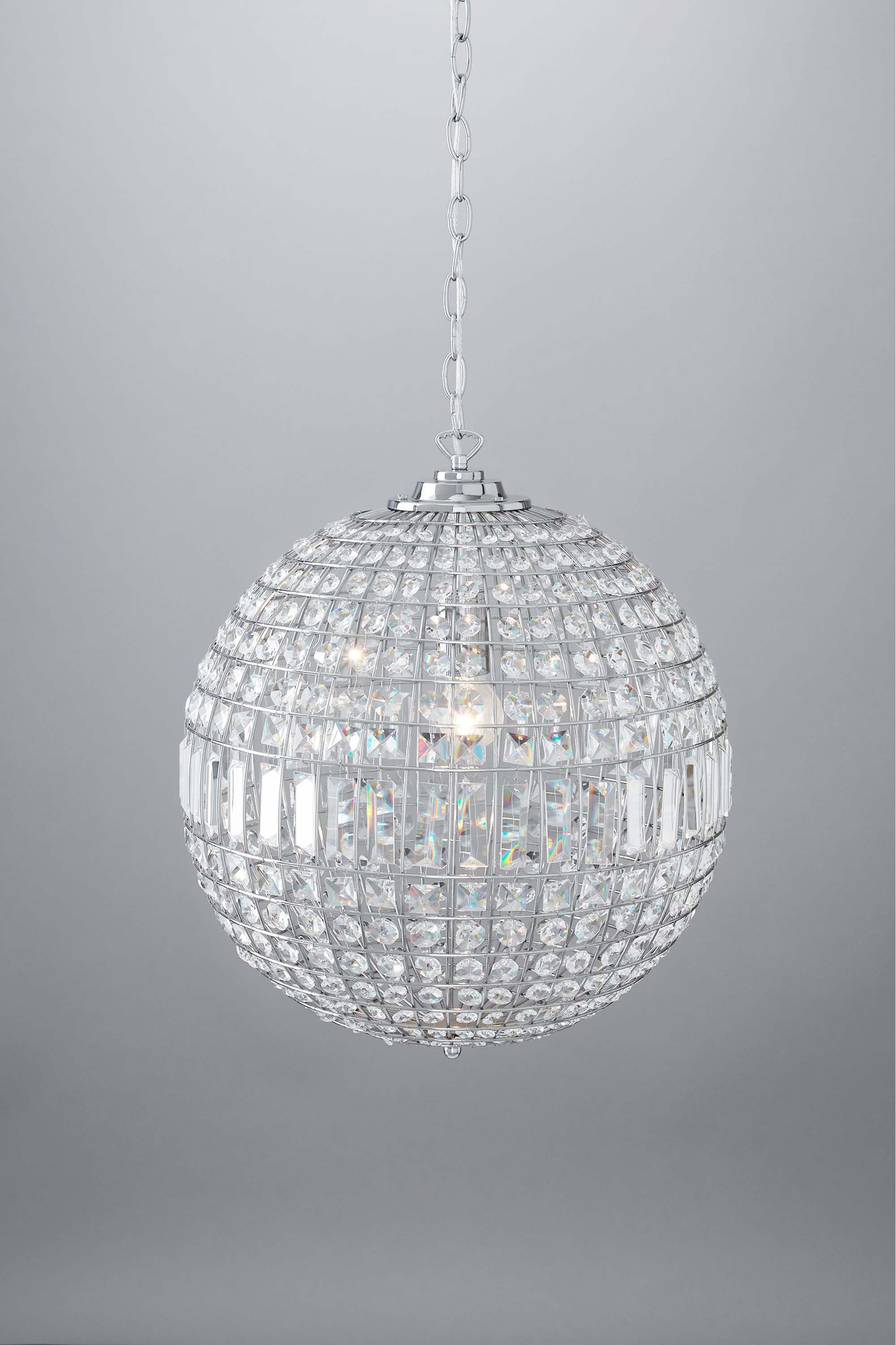 large sheer shades pendant crystal products chrome ball shade of light