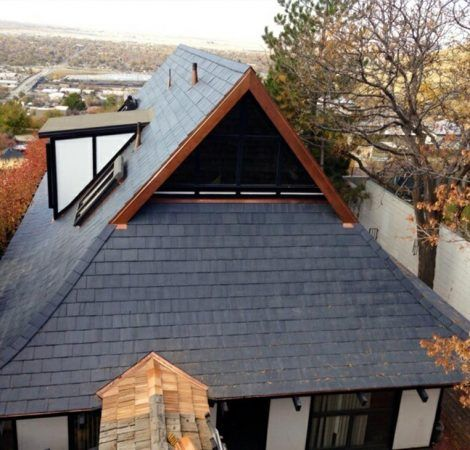 Gaf Truslate System The System Incorporates 12 X 12 Natural Slate Roof Shingles And Underblock Uv And Moi House Exterior Slate Roof Shingles Roof Shingles