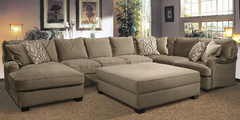U Shaped Sectional Sofa With Oversized Ottoman Oversized