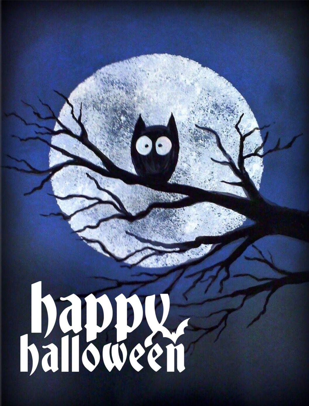Happy Halloween Buho En Luna Llena
