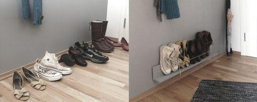 DIY a shoe rack for a narrow hallway