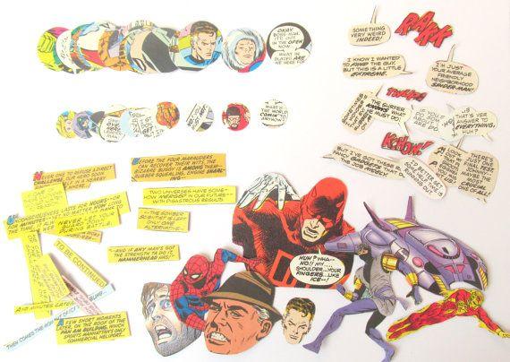 Vintage comic book craft pack over 100 by PinkFlamingoEphemera, £5.00
