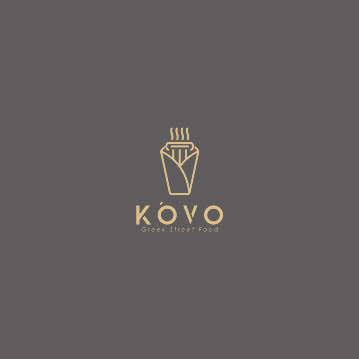 Kovo Greek Street Food Logo Design By Overmind This Awesome Minimalist Logo Design Was Created For A Food Truck If You Re Looking For Eye Catching Food Truc