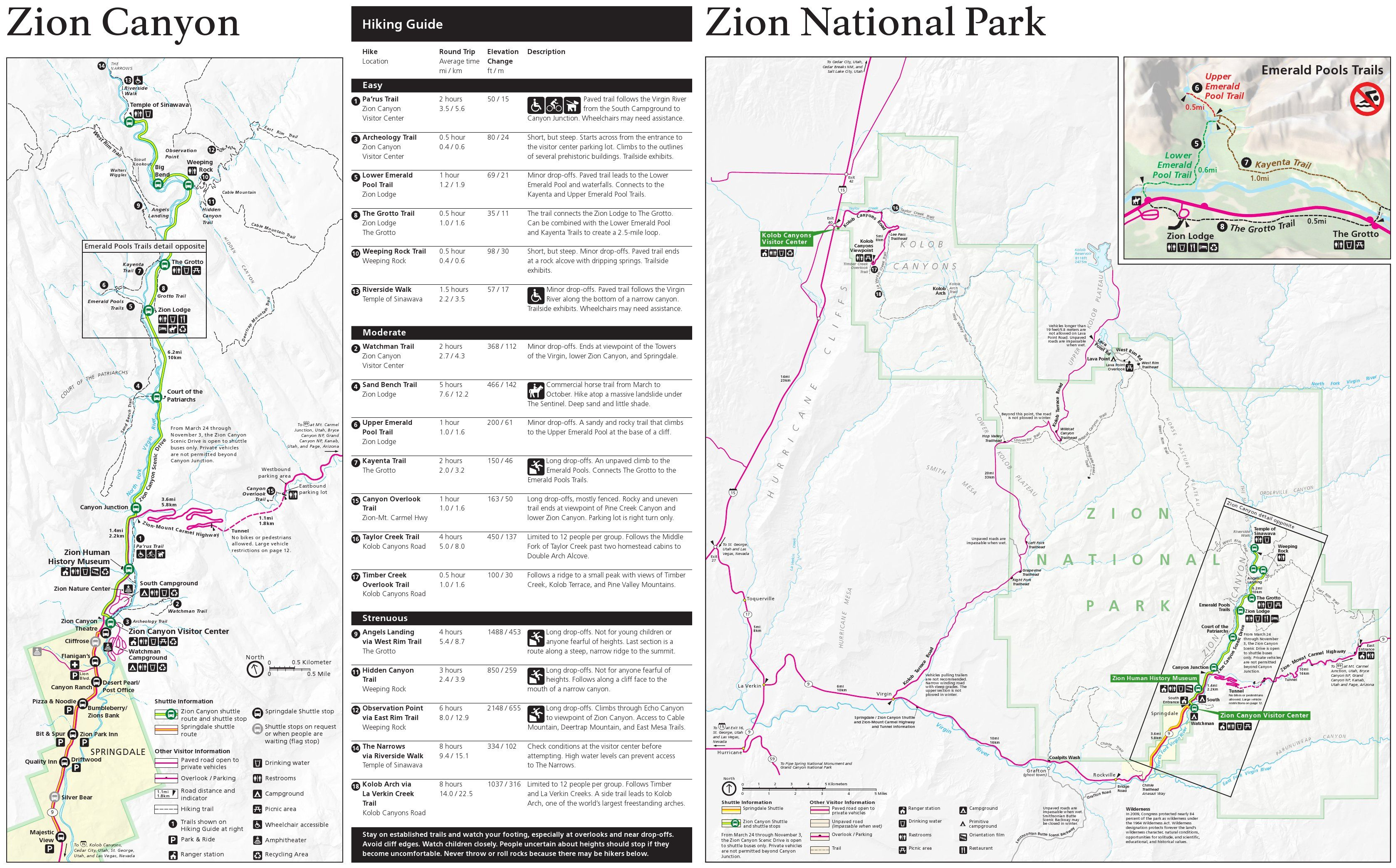 Zion Maps Zion National Park National Parks Hiking Map