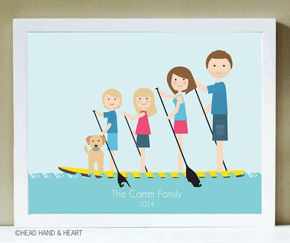 Custom Portrait SUP Family of Four plus Pet by HeadHandHeart