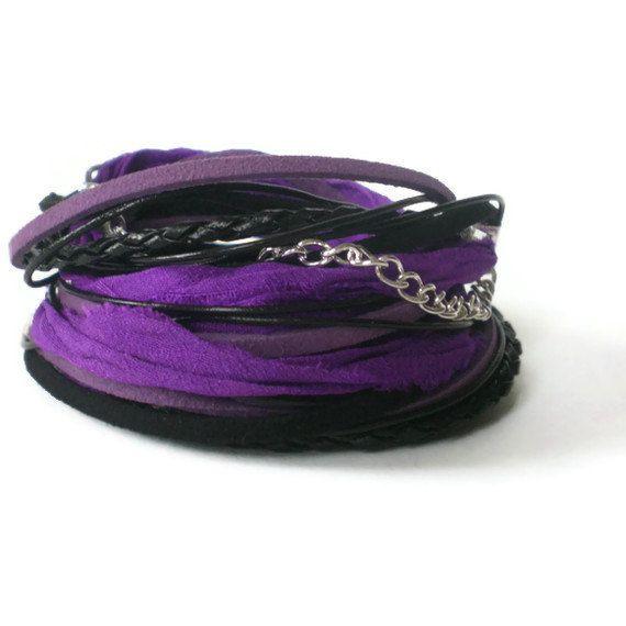 black & purple wrap bracelet leather suede silk by jcudesigns
