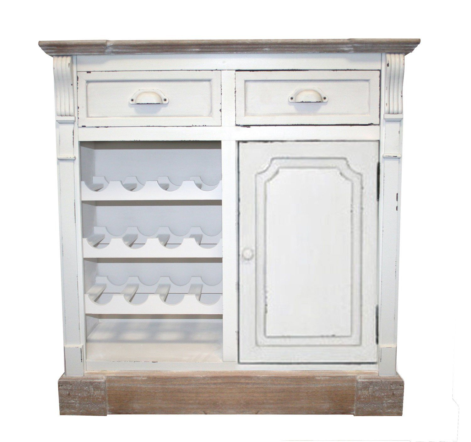 White Shabby Chic Vintage French Style 2 Drawer Cupboard Sideboard