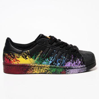adidas superstar black and rainbow