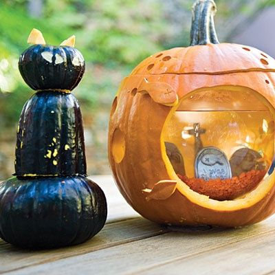 insert fish bowl in pumpkin make graveyard aquarium halloween