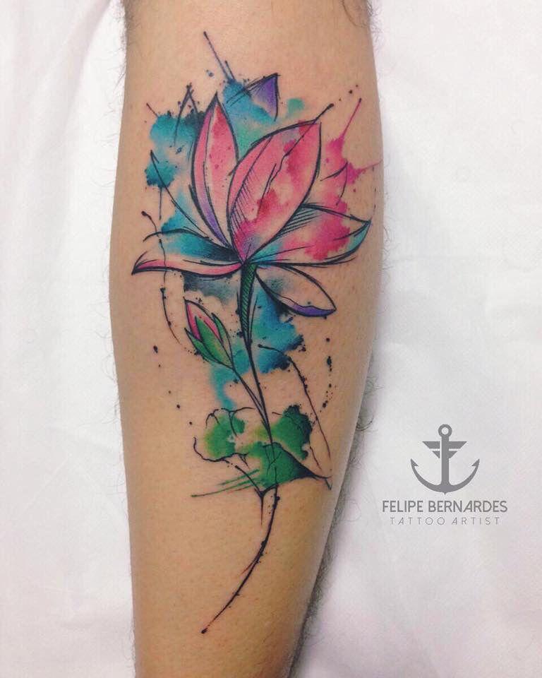 tattoo by felipe bernardes brazilian tattoo artist watercolor lotus tattoos pinterest. Black Bedroom Furniture Sets. Home Design Ideas