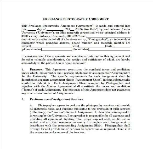 Freelance Photography Contract PDF Template Free Download