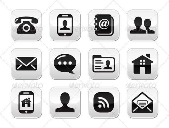 Contact Black Buttons Set Mobile Phone Email Icon Set Free Graphic Design Icon