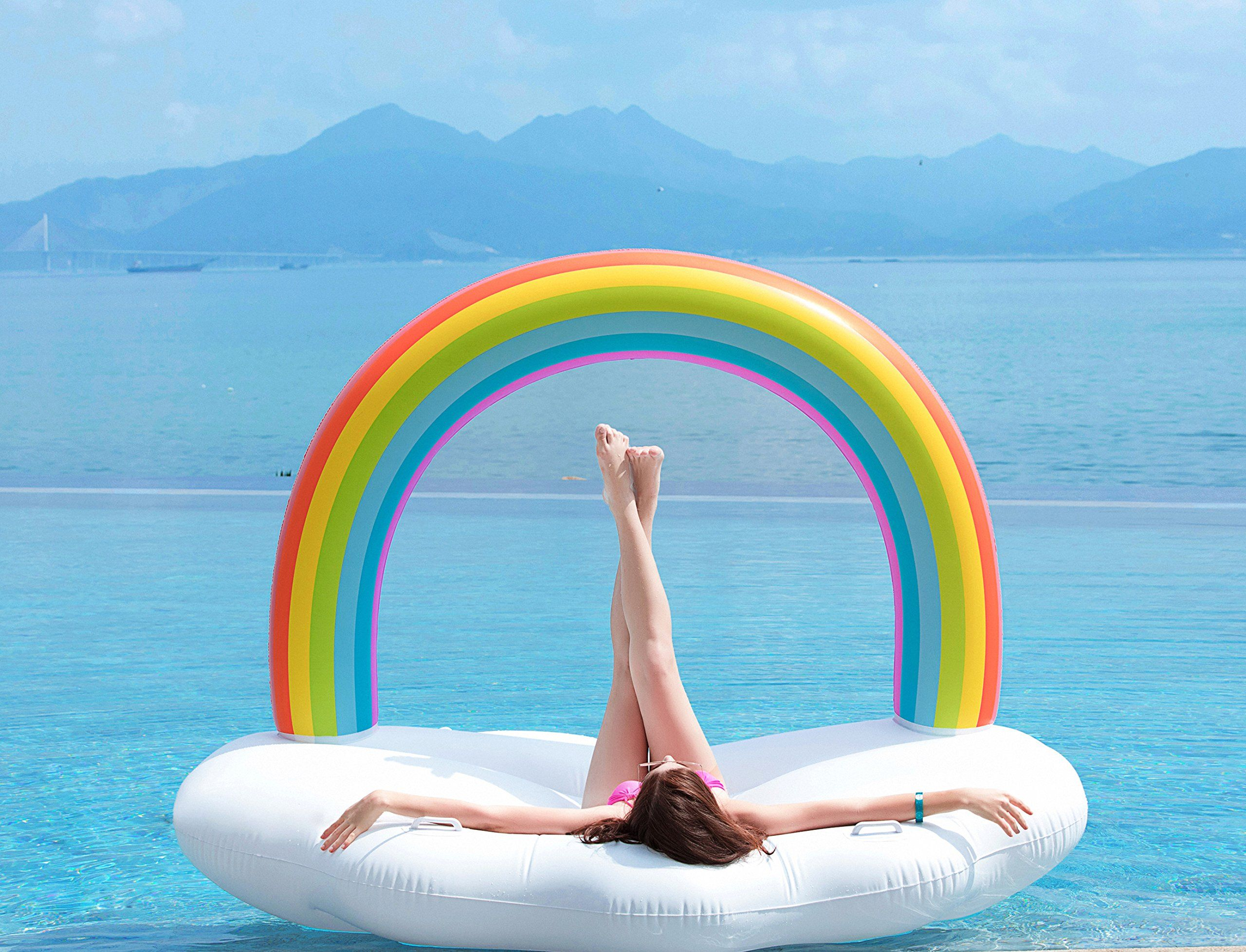 Jasonwell Giant Inflatable Rainbow Cloud Pool Float With Rapid
