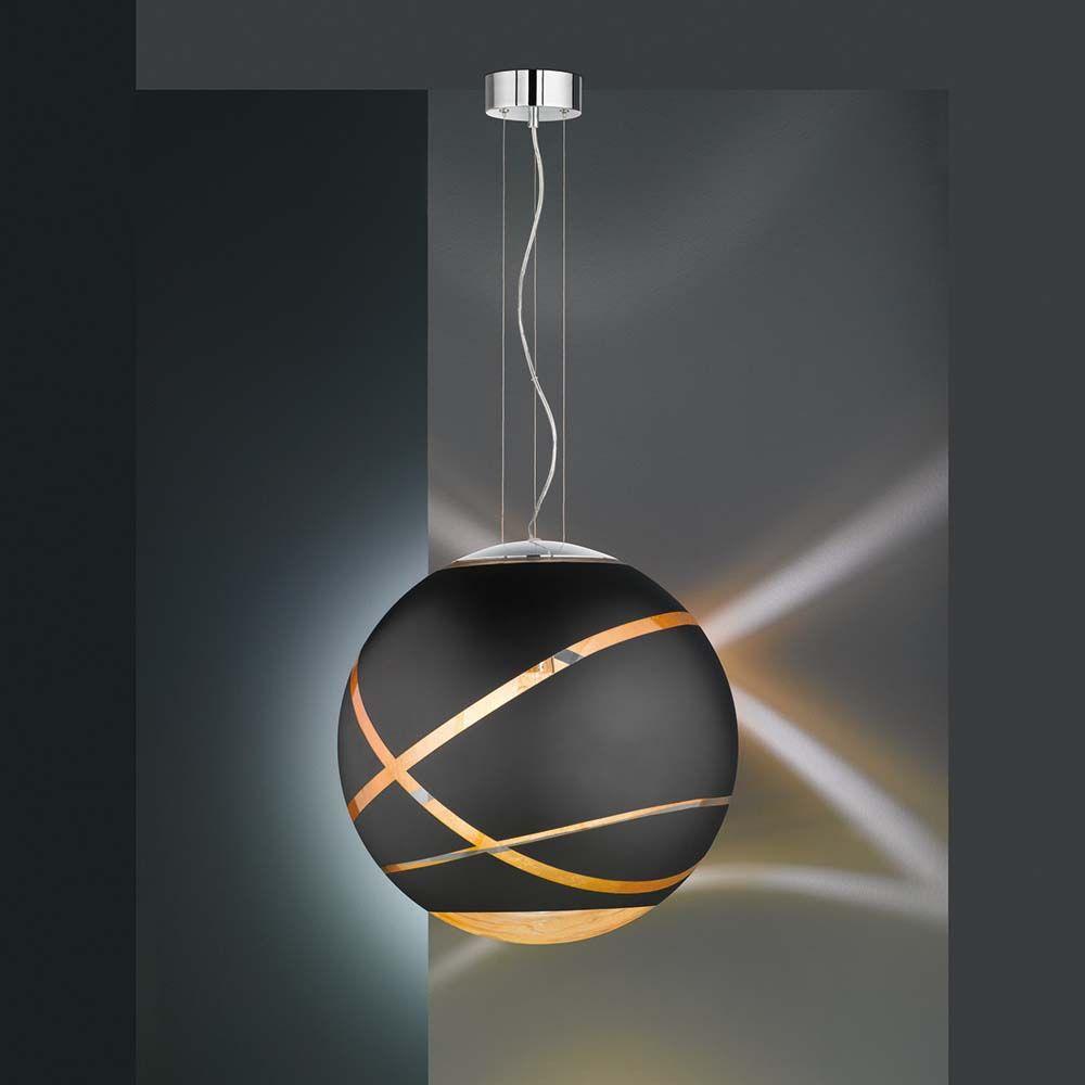 Pendelleuchte in Schwarz matt mit kugelförmigem Glasschirm