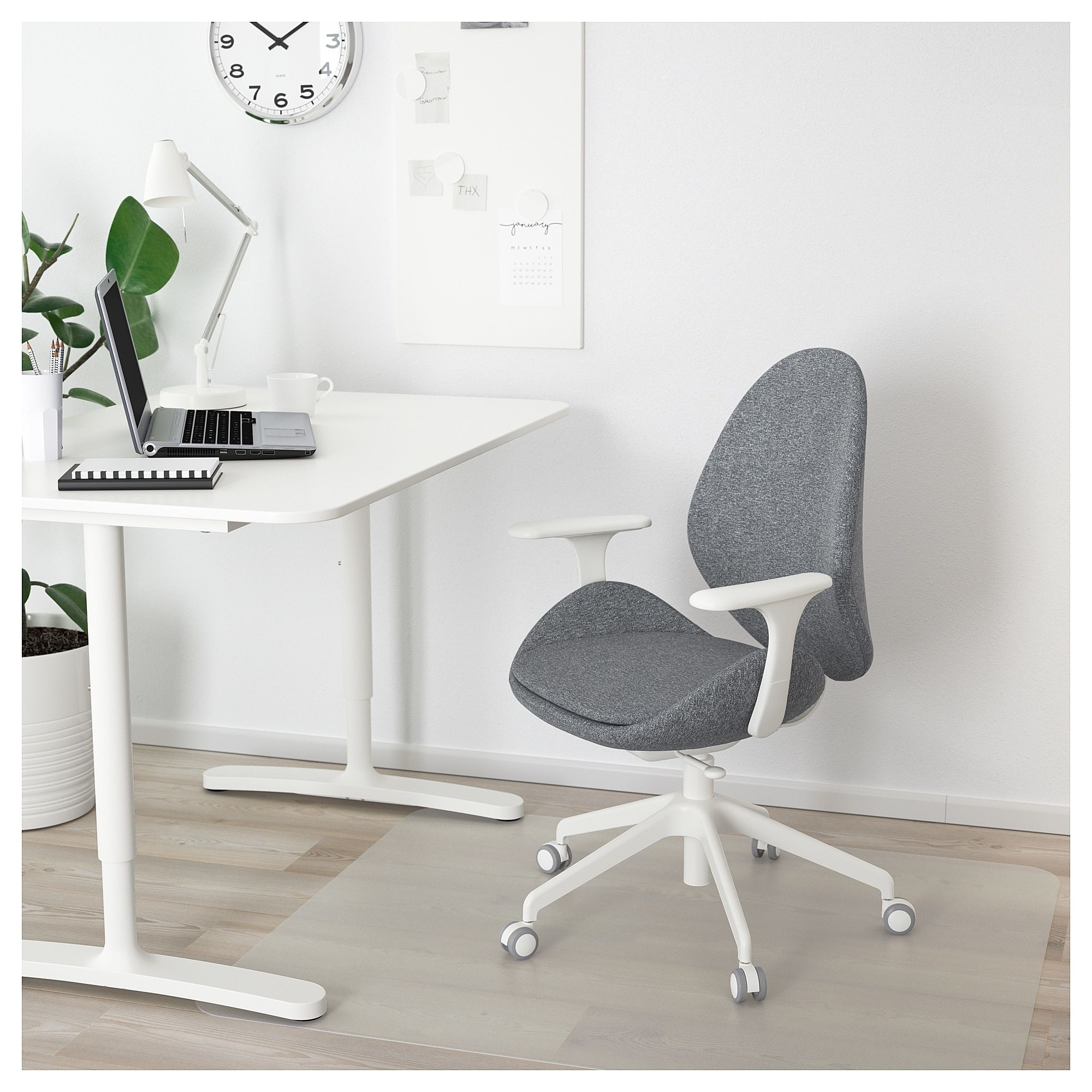 Pleasant Ikea Hattefjall Gunnared Medium Gray White Office Chair Pabps2019 Chair Design Images Pabps2019Com