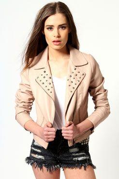 Liza Studded PU Biker Jacket