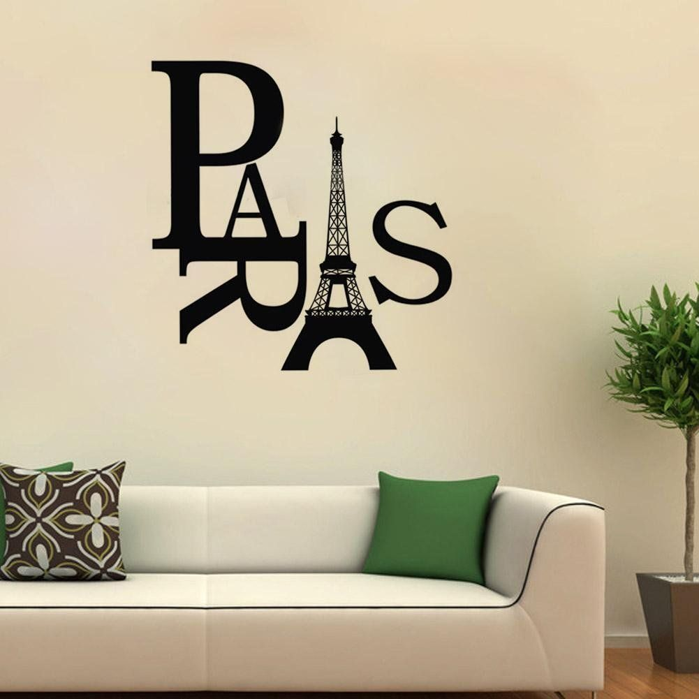 Loa Paris Eiffel Tower Removable Pvc Wall Sticker Home Bedroom Decor