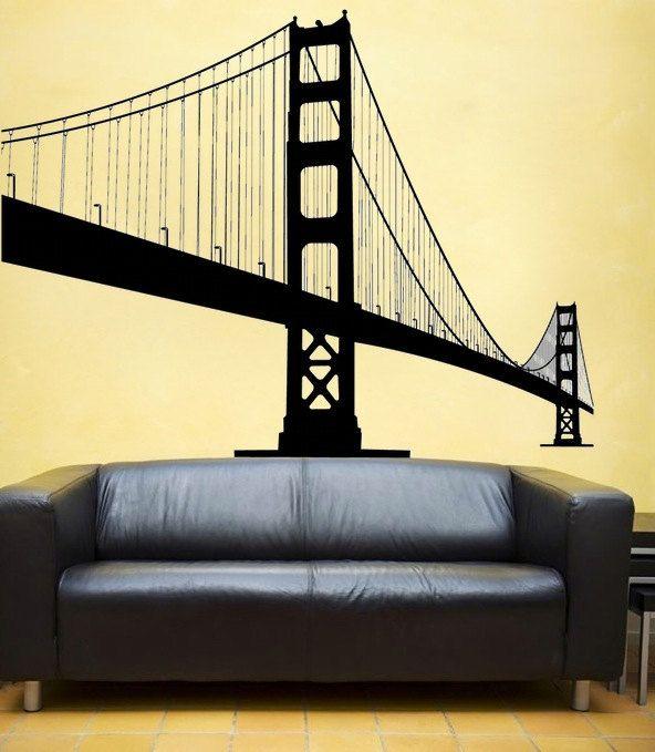 large Golden Gate Bridge vinyl Wall DECAL- San Francisco urban city ...