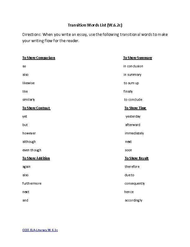 Transition Words List ELALiteracyW63c Writing Worksheet – Transition Words Worksheet