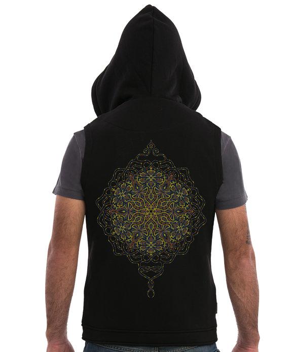 Mens Hood Vest Black Sleeveless Jacket With Hoodie Mandala Screen