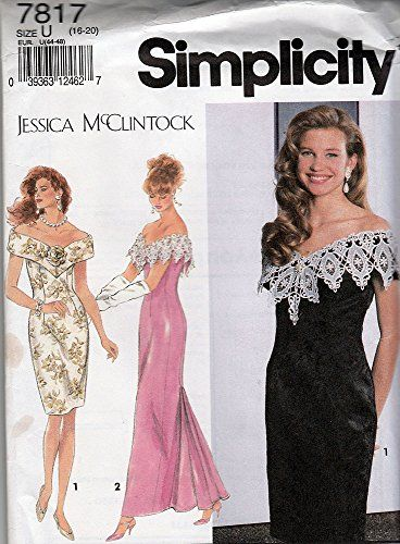 Simplicity Pattern 7817 ©1992 Jessica Mcclintock Misses/Petite Dress ...