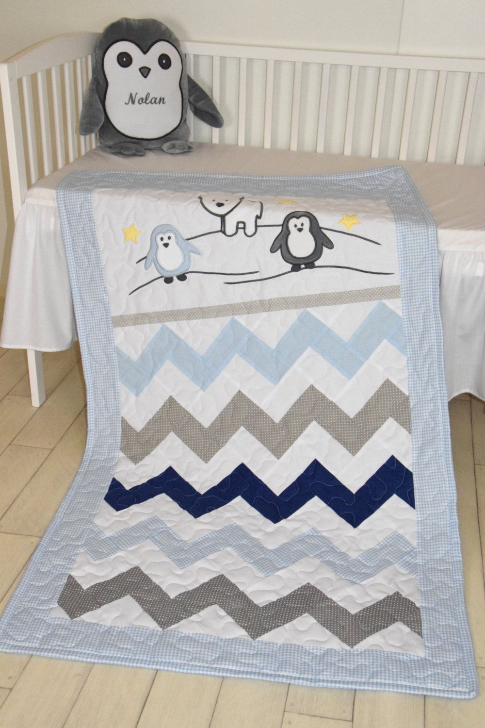 Chevron Crib Bedding, Penguin Baby Quilt, Gray Navy Blue White Toddler Blanket, Gift for New Baby I made a cute penguin baby blanket. Nice for boys, with different colours of course. I used the timeless chevron pattern, and made the applications with patchwork technique. Can be made any size and colour, or with different applications.  Quilt : -width: 31,5 -height: 56 ; 77 x 137 cm ( crib mattress:27,5 x 52)   It will also be perfect to be used on the floor or backyard for playtime, thrown…