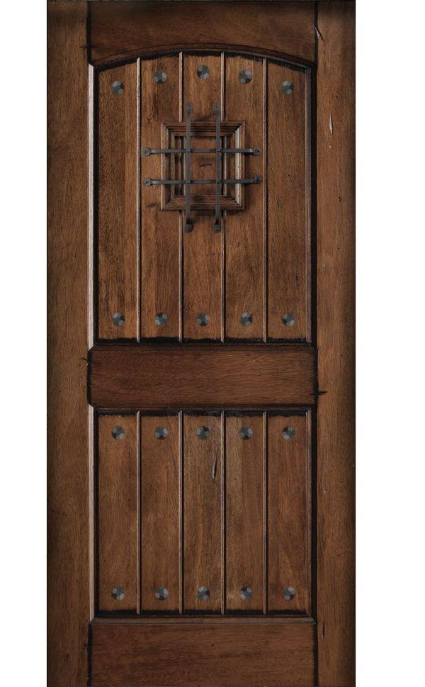 Main Door 36 In X 80 In Rustic Mahogany Type Prefinished Distressed V Groove Solid Speakeasy Stained Wood Front Door Slab Sh 914 Rustic The Home Depot Rustic Doors Rustic Front Door Wood Front