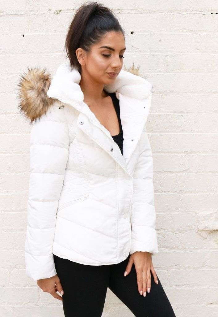 42bcbcffd Lottie Quilted Padded Short Hooded Puffer Coat with Natural Fur Trim in  White