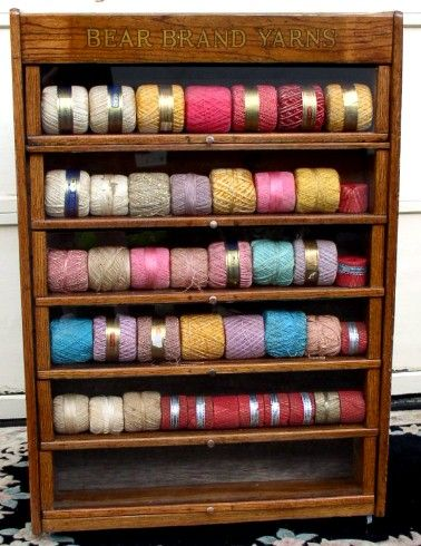 Bear Brand Yarns Display Cabinet, Oak, BRASS LANTERN ANTIQUES ...