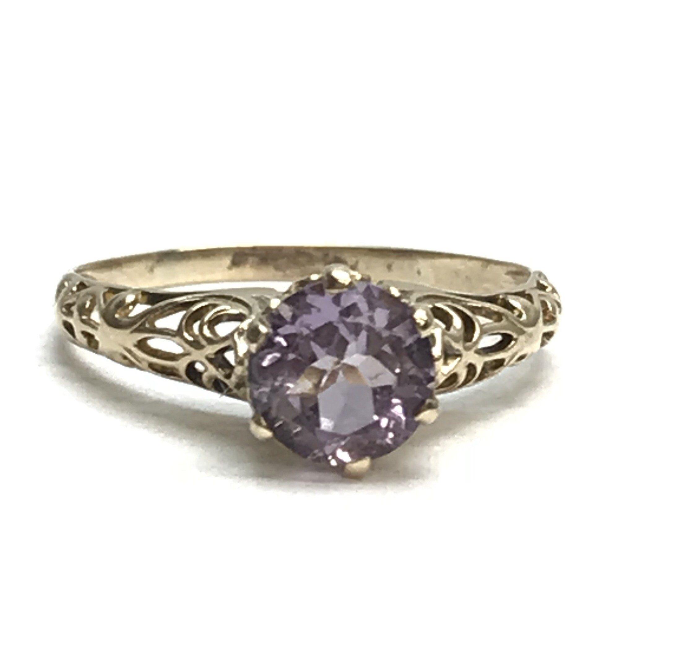 Vintage 10k Rose Gold Cathedral Set Coronet Set Six Prong Amethyst Solitaire Filigree Ring By Treasuredplum On Etsy Edwardian Ring Lovely Ring Filigree Ring