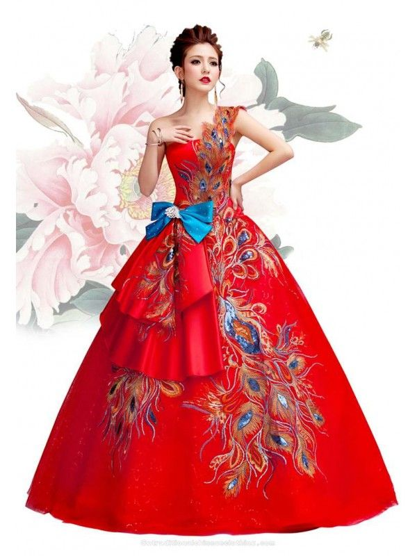 Embroidered Peacock Tail One Shoulder Ball Prom Dress Chinese Red