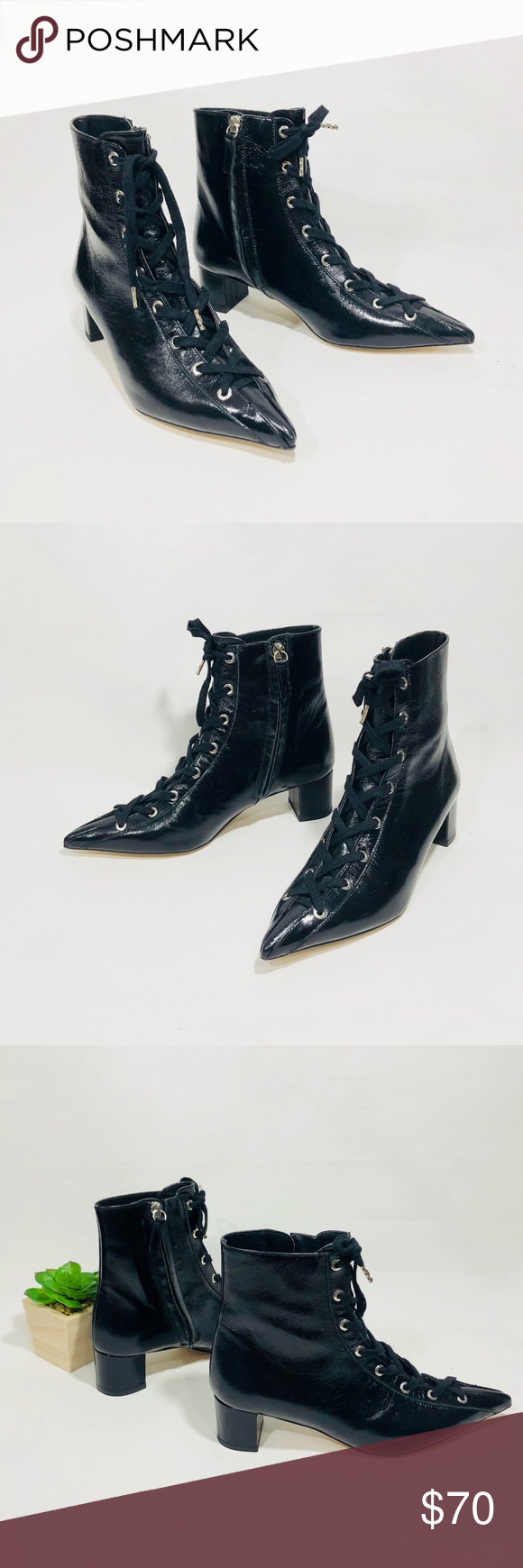 b3ba09d633f2 ZARA BLACK LEATHER LACE-UP ANKLE BOOTS Zara Lace up Boots Size  36