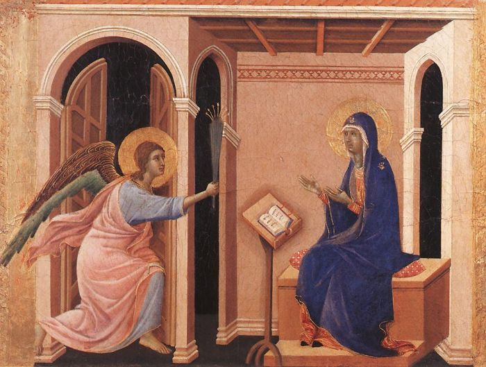 Duccio's The Annunciation has been hung as an example.