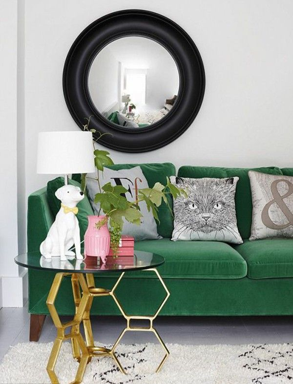 Green sofas wall mirror picture frame