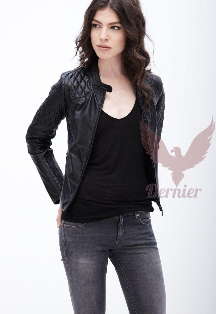 New Women Leather Motorcycle Jacket Biker Genuine Lambskin Zipper Slim MA#67 #Handmade #Motorcycle #Casual