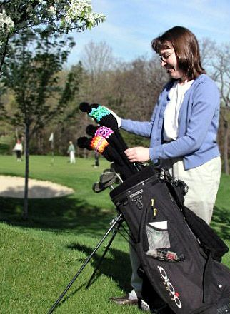 So, if I ever learn how to do fair isle knitting...  Golf club covers!