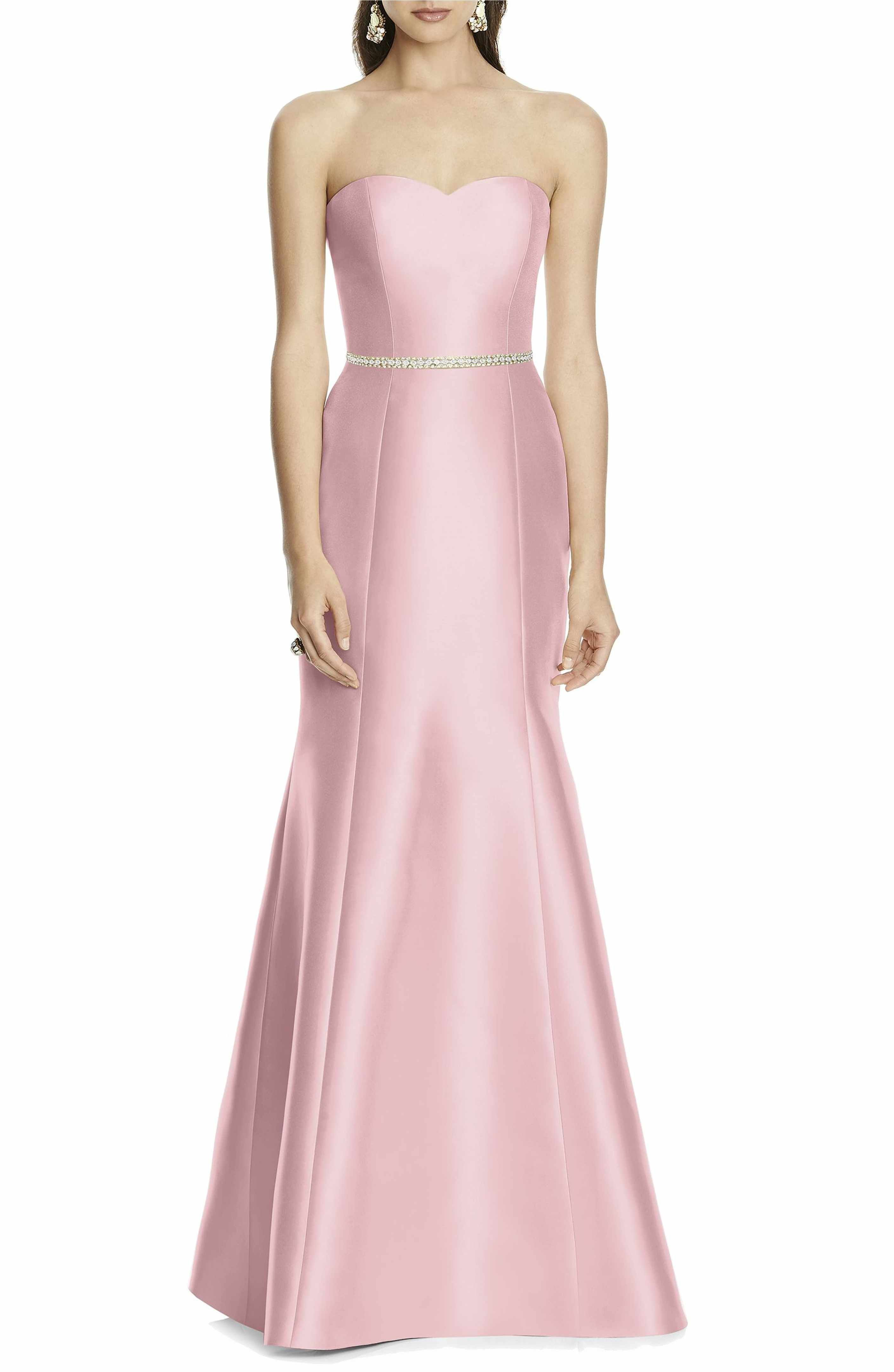 Strapless Sateen Trumpet Gown | Alfred sung, Trumpets and Gowns