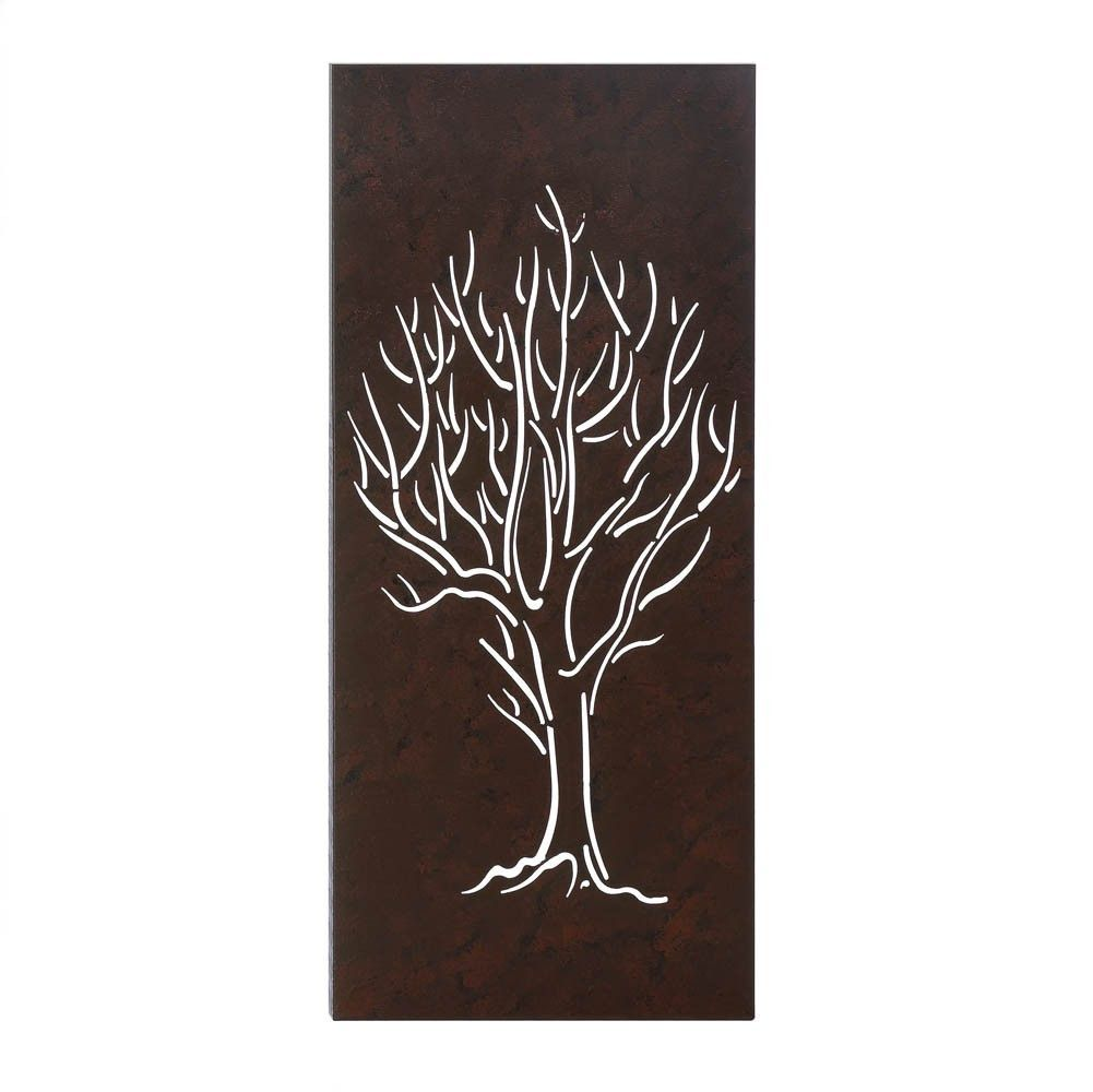 "Tall Metal Wall Art 30"" Tall Brown Textured Iron Metal Tree Wall Art Sculpture Rustic"