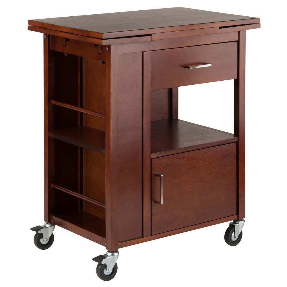 Winsome Wood Gregory Kitchen Cart In Walnut Brown In 2020