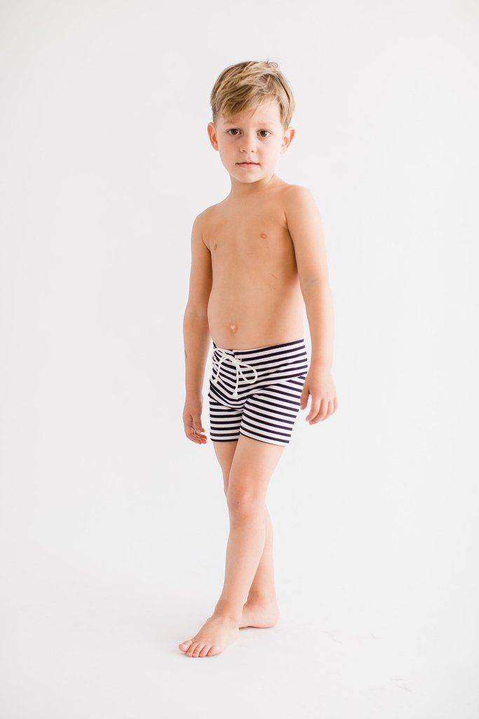 555a533544 Boy's Venice Swim Shorts Striped | An Olivia + Ocean signature style, the  Venice boy shorts in a timeless striped print. This suit is designed to  provide ...
