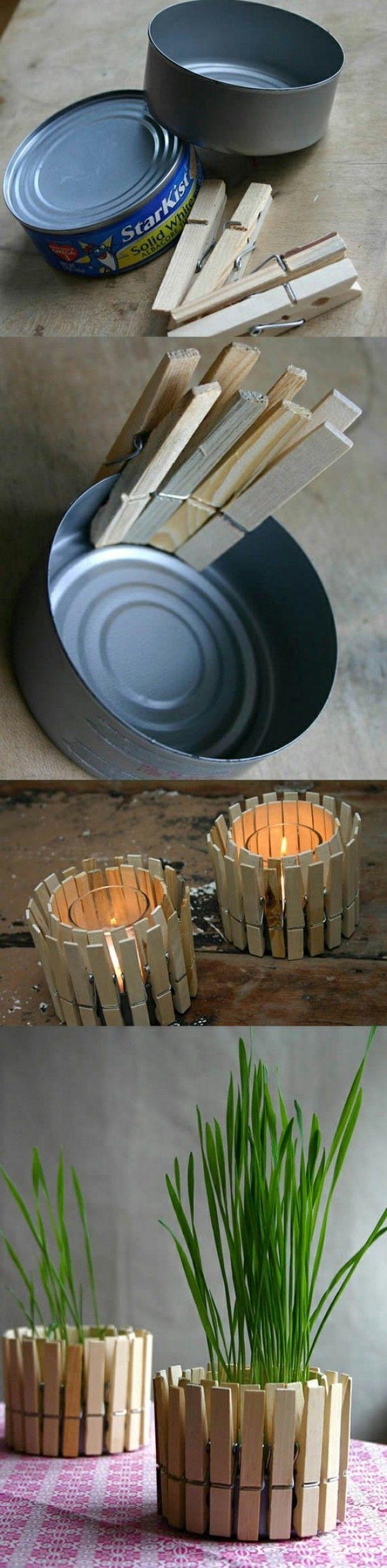 Idée recyclage boite de conserve : des boites de thon + des pinces à linges en bois = photophore ou pot à fleur