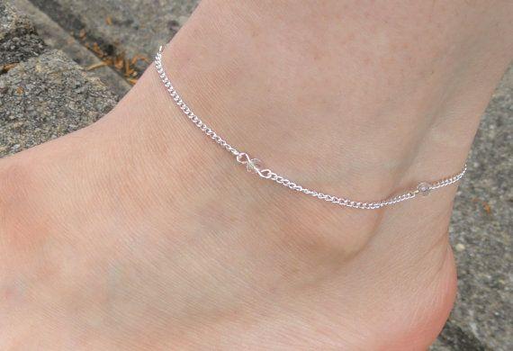 Pulsera de tobillo de cristal de plata pulseras de por GemmaJolee
